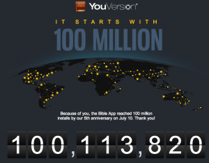 YouVersion makes 100 million - screenshot