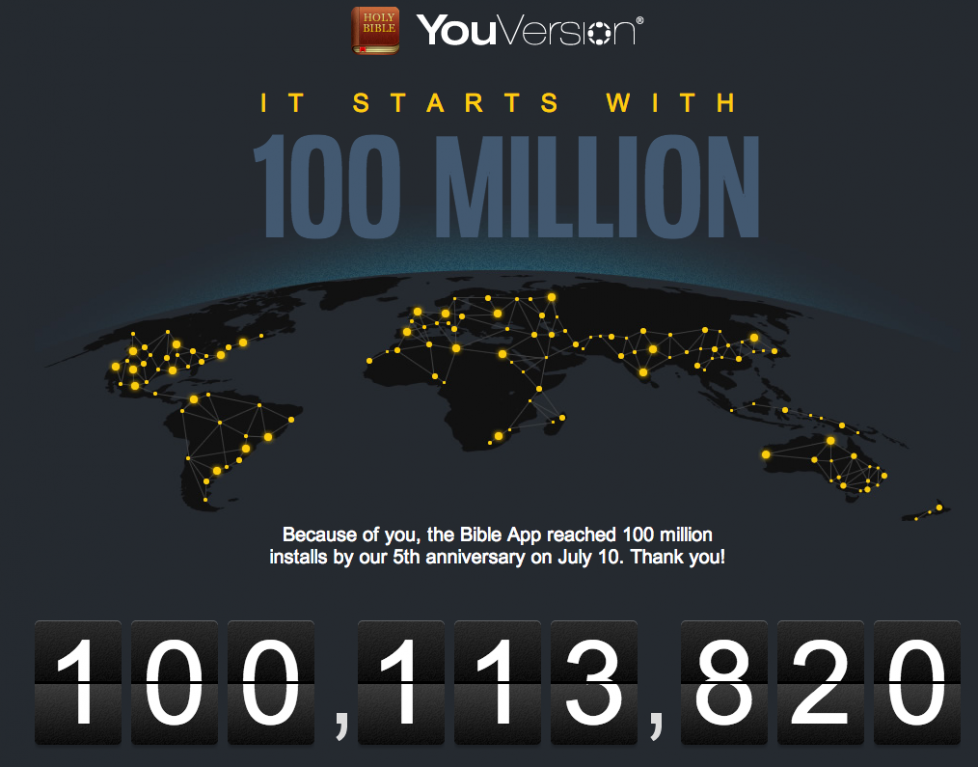 YouVersion bible app on 100 million unique devices