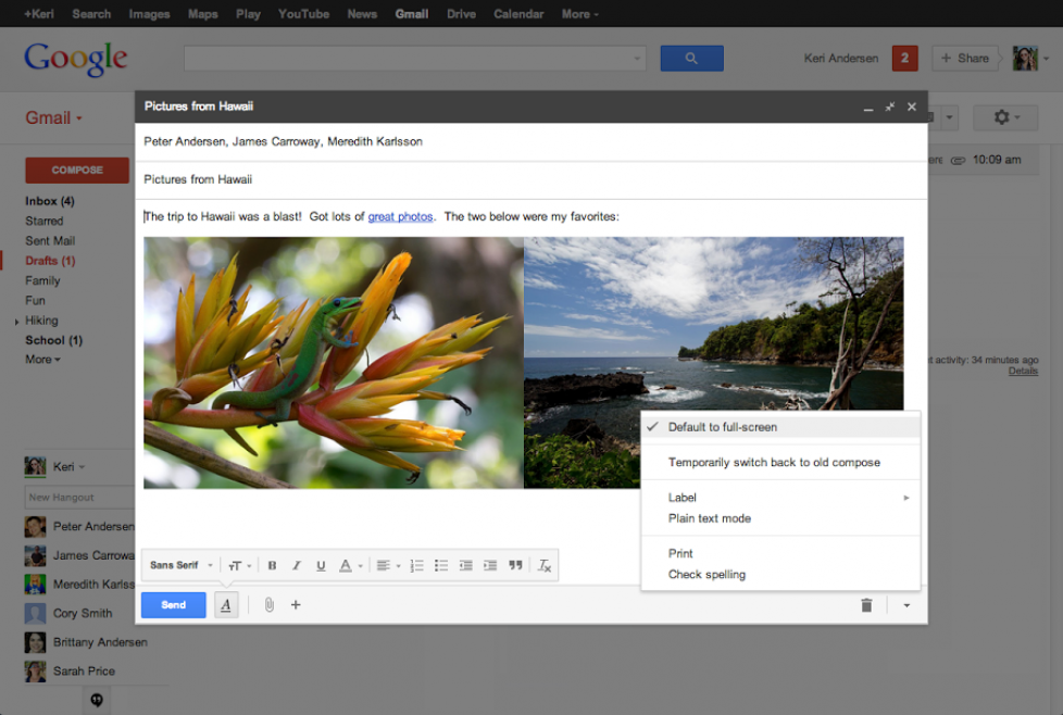 Google brings back full screen compose for Gmail